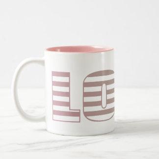 Pink and Lime Love Stripes Two-Tone Coffee Mug
