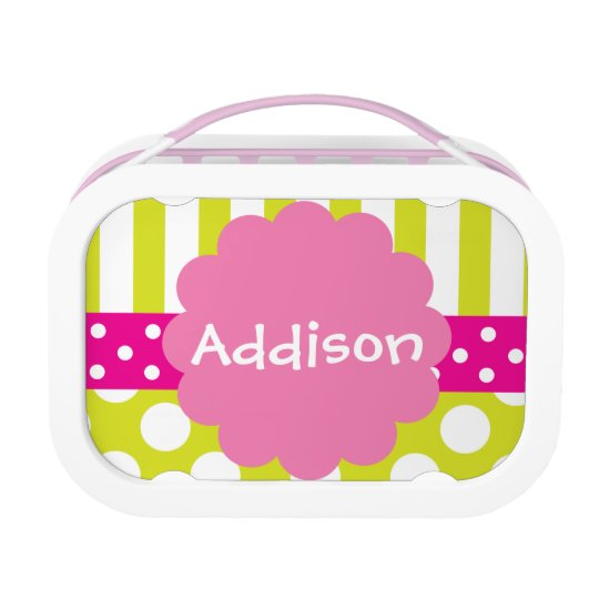 Pink and Lime Stripes Dots Personalized Lunchbox
