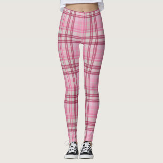 Pink and Maroon Plaid Leggings