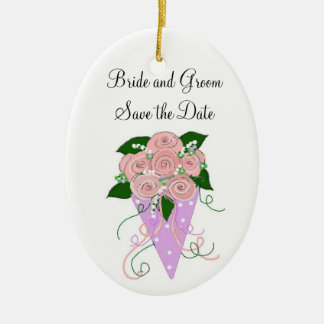 Pink and Mauve Bouquet Save the Date Ceramic Oval Ornament
