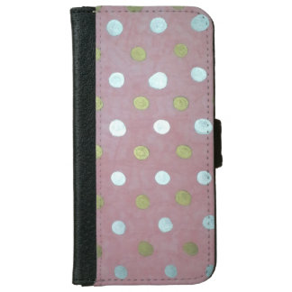 Pink and Metallic Polka Dot iPhone Wallet
