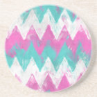 Pink and Mint Chevron Coaster