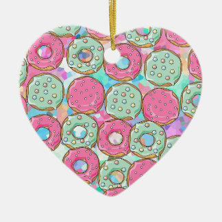 PINK AND MINT COOKIES DONUT SPRINKLE CRUSH CERAMIC ORNAMENT