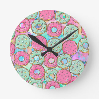 PINK AND MINT COOKIES DONUT SPRINKLE CRUSH ROUND CLOCK