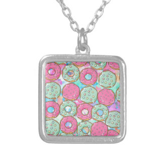 PINK AND MINT COOKIES DONUT SPRINKLE CRUSH SILVER PLATED NECKLACE