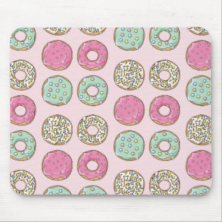 Pink and Mint Doughnut Print Mousepad