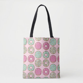Pink and Mint Doughnut Print Tote