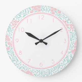 Pink and Mint Floral Damask Pattern Large Clock