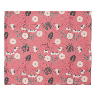 Pink and Mint Green Floral Pattern Duvet Cover