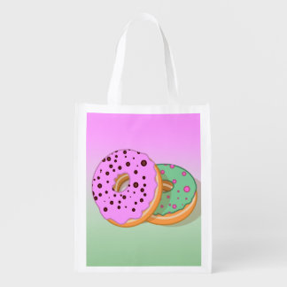 Pink and mint green large donuts reusable grocery bag