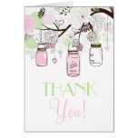 Pink and Mint Green Mason Jars Thank You Card