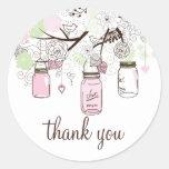 Pink and Mint Green Mason Jars Thank You Sticker