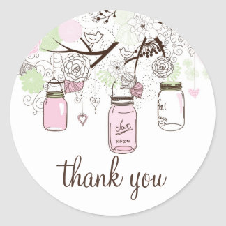 Pink and Mint Green Mason Jars Thank You Sticker