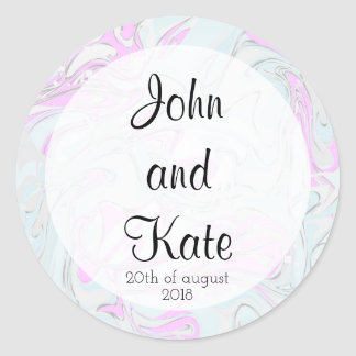 Pink and mint modern marbling paper design round sticker