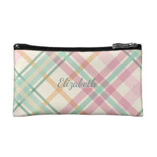 Pink and mint pastels plaid makeup bag