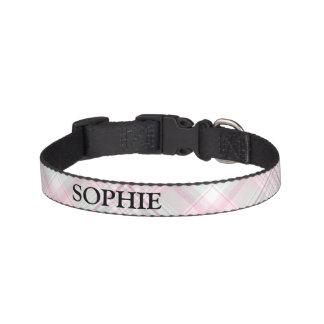 Pink and Mint Plaid Custom Name Dog Collar