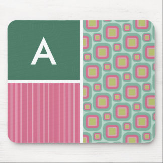 Pink and Mint Retro Pattern Mouse Pad