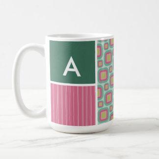 Pink and Mint Retro Pattern Coffee Mug