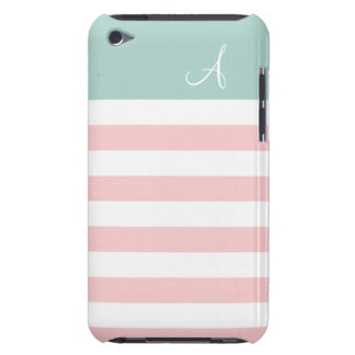 Pink and Mint Striped Monogram iPod Touch Case
