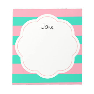 Pink and Mint Stripes Notepad