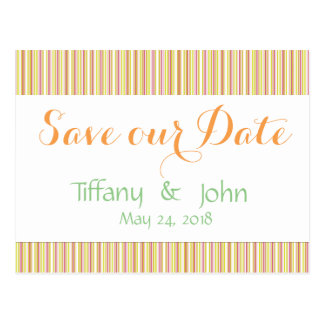 Pink and Mint Stripes Pattern Save the Date Postcard