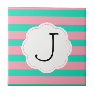 Pink and Mint Stripes Tile