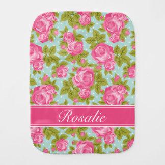 Pink and Mint Vintage Roses Monogram Baby Burp Cloths