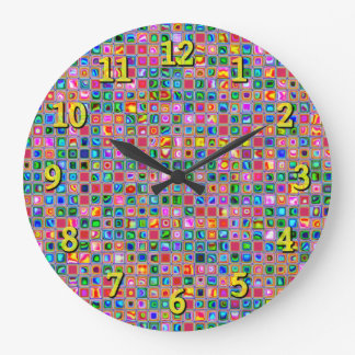 Pink And Multicolored Textured Tiles Pattern Large Clock