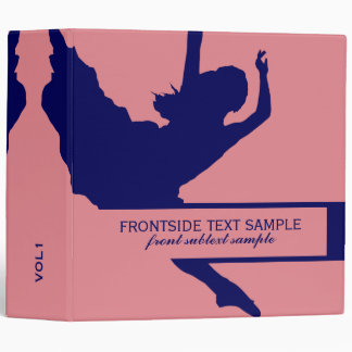 Pink And Navy Blue Dancer Silhouette Illustration Vinyl Binders