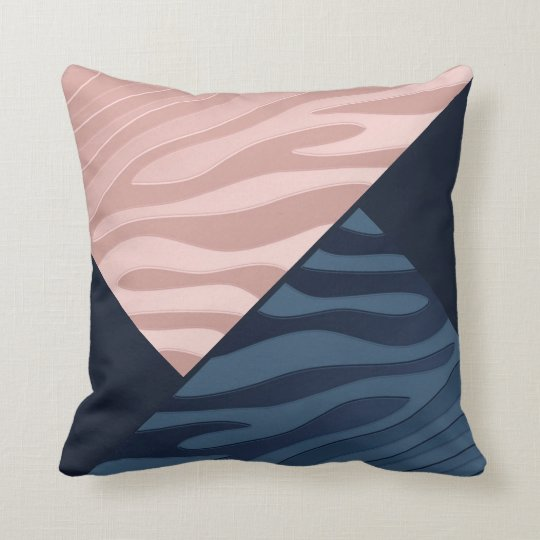 Pink and Navy Blue Gradient Zebra Stripe Triangle Throw Pillow