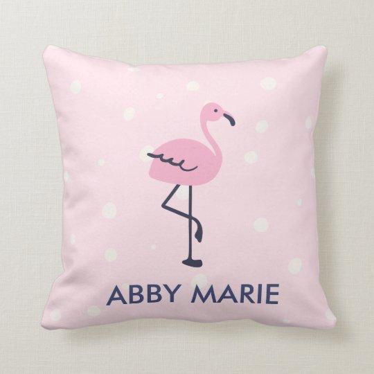 Pink and navy dot flamingo pattern throw pillow