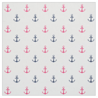 Pink and Navy Nautical Anchor Print Fabric
