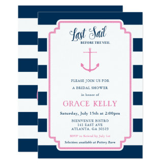 Pink and Navy Nautical Bridal Shower Invitation