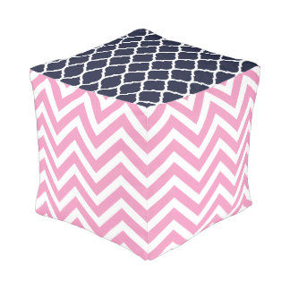 Pink and Navy Preppy Prints Pouf