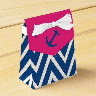 Pink and Navy Zigzag & Nautical Anchor Favor Box