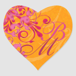 Pink and Orange Abstract Floral Envelope Seal Heart Sticker