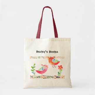 Pink and Orange Birds with Tribal Borders Tote Bag