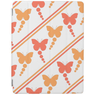 Pink and Orange Butterflies, Dots, Stripes Print iPad Cover