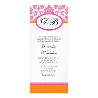 Pink and Orange Damask Monogram Wedding Invitation