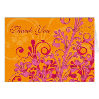 Pink and Orange Floral Wedding Thank You Card
