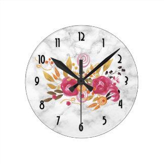 Pink and Orange Flower Bouquet on Marble Texture Round Clock
