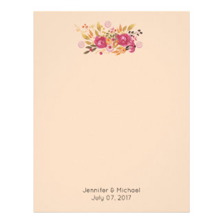 Pink and Orange Flower Bouquet on Peach Background Letterhead