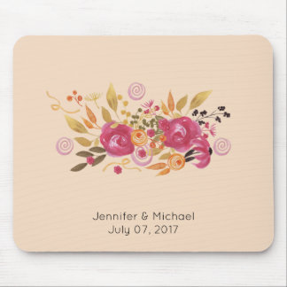 Pink and Orange Flower Bouquet on Peach Background Mouse Pad