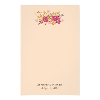 Pink and Orange Flower Bouquet on Peach Background Stationery