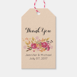 Pink and Orange Flower Bouquet on Peach Thank You Gift Tags
