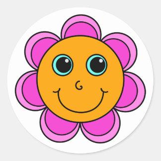 Pink and Orange Flower Smiley Face Round Sticker