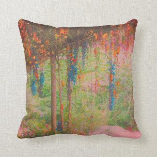 Pink and Orange Garden Scene Throw Pillow