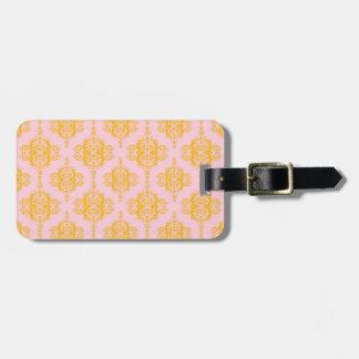 Pink and Orange Gold Damask Pattern Travel Bag Tags