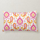 Pink and Orange Ikat Paisley Lumbar Pillow