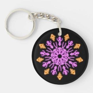 Pink and orange neon flower keychain
